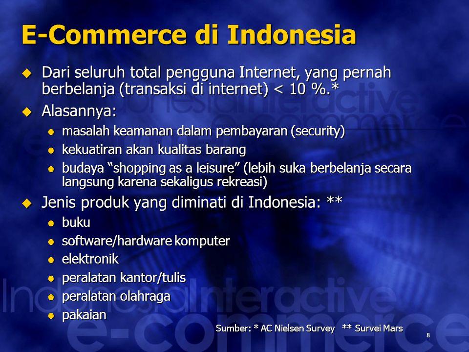 9 Sumber: Forrester Research E-Commerce di Indonesia (2) E-Commerce diperkirakan akan 'booming' di Indonesia pada tahun 2003 dengan total transaksi mencapai USD 1,200 juta.