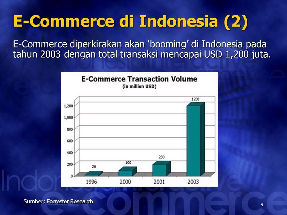 9 Sumber: Forrester Research E-Commerce di Indonesia (2) E-Commerce diperkirakan akan 'booming' di Indonesia pada tahun 2003 dengan total transaksi me