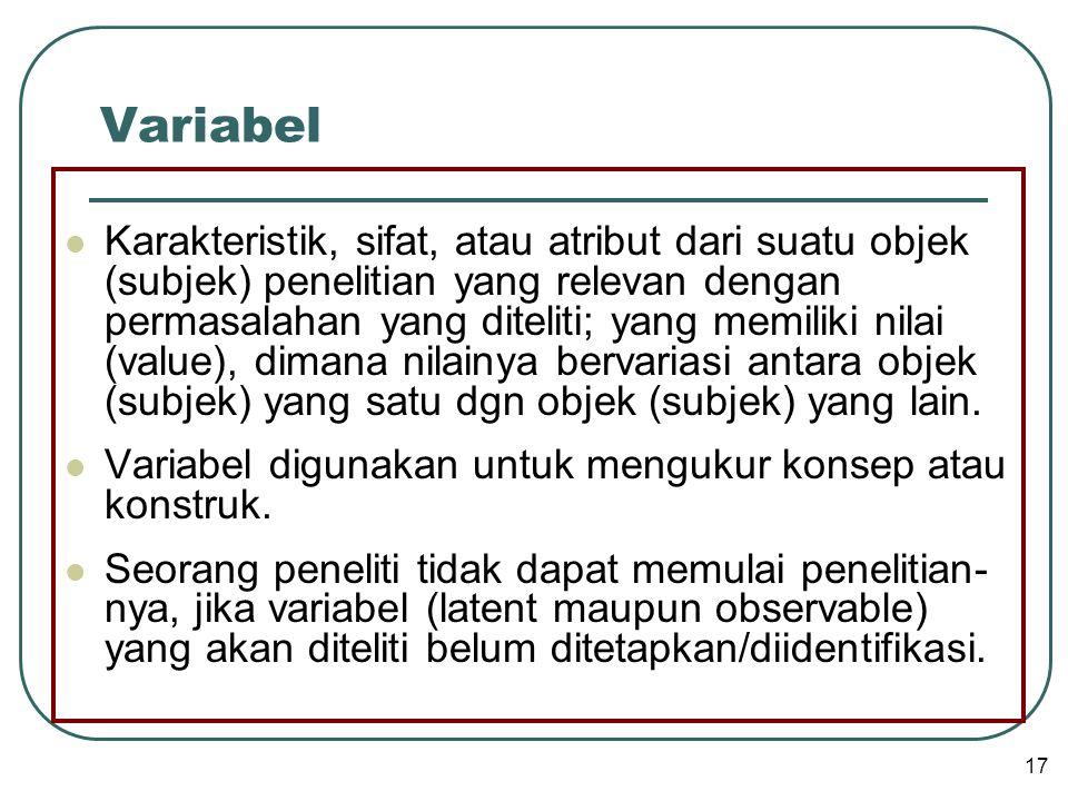 Variabel  Karakteristik, sifat, atau atribut dari suatu objek (subjek) penelitian yang relevan dengan permasalahan yang diteliti; yang memiliki nilai (value), dimana nilainya bervariasi antara objek (subjek) yang satu dgn objek (subjek) yang lain.