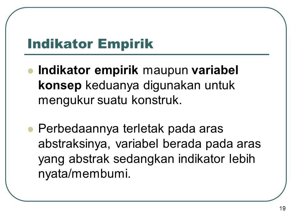 Indikator Empirik  Indikator empirik maupun variabel konsep keduanya digunakan untuk mengukur suatu konstruk.  Perbedaannya terletak pada aras abstr