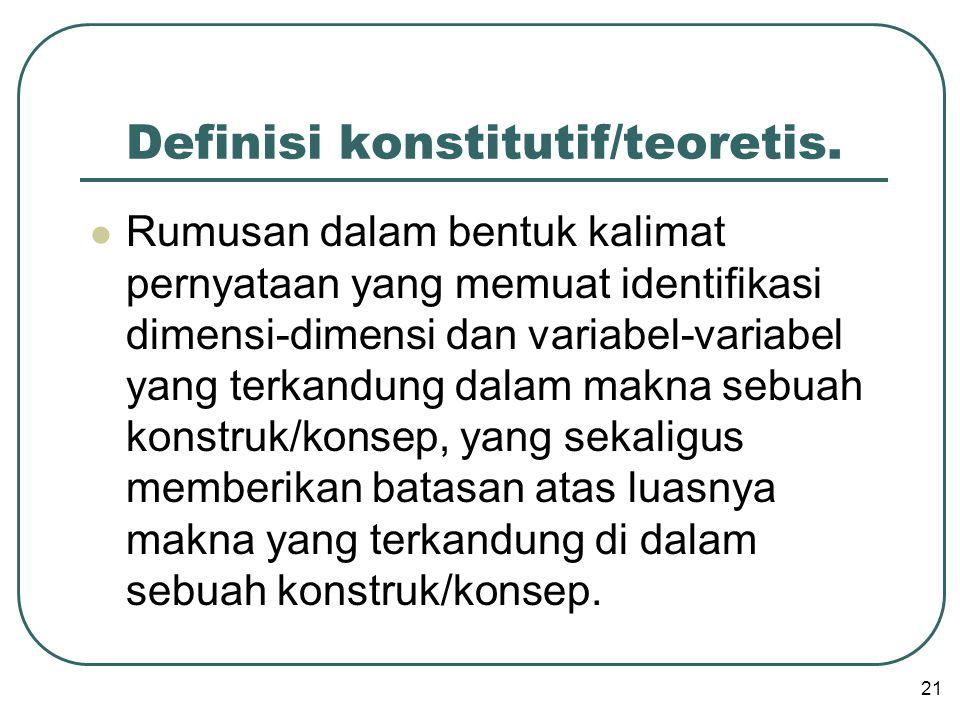 Definisi konstitutif/teoretis.  Rumusan dalam bentuk kalimat pernyataan yang memuat identifikasi dimensi-dimensi dan variabel-variabel yang terkandun