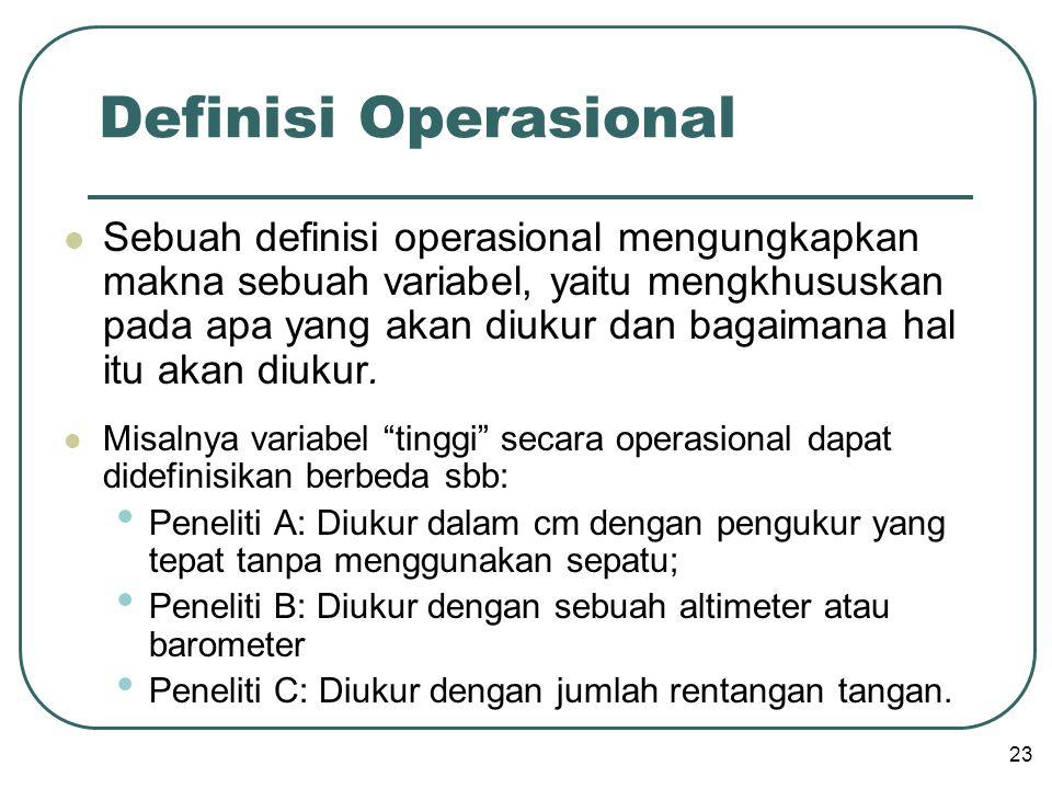  Sebuah definisi operasional mengungkapkan makna sebuah variabel, yaitu mengkhususkan pada apa yang akan diukur dan bagaimana hal itu akan diukur.