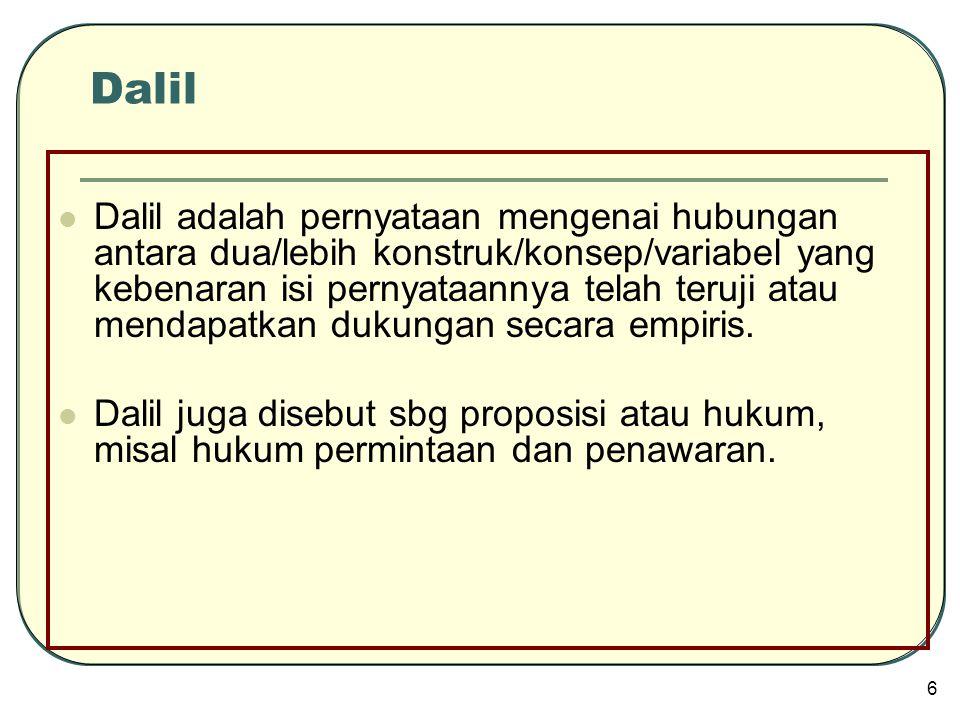  Dalil adalah pernyataan mengenai hubungan antara dua/lebih konstruk/konsep/variabel yang kebenaran isi pernyataannya telah teruji atau mendapatkan d