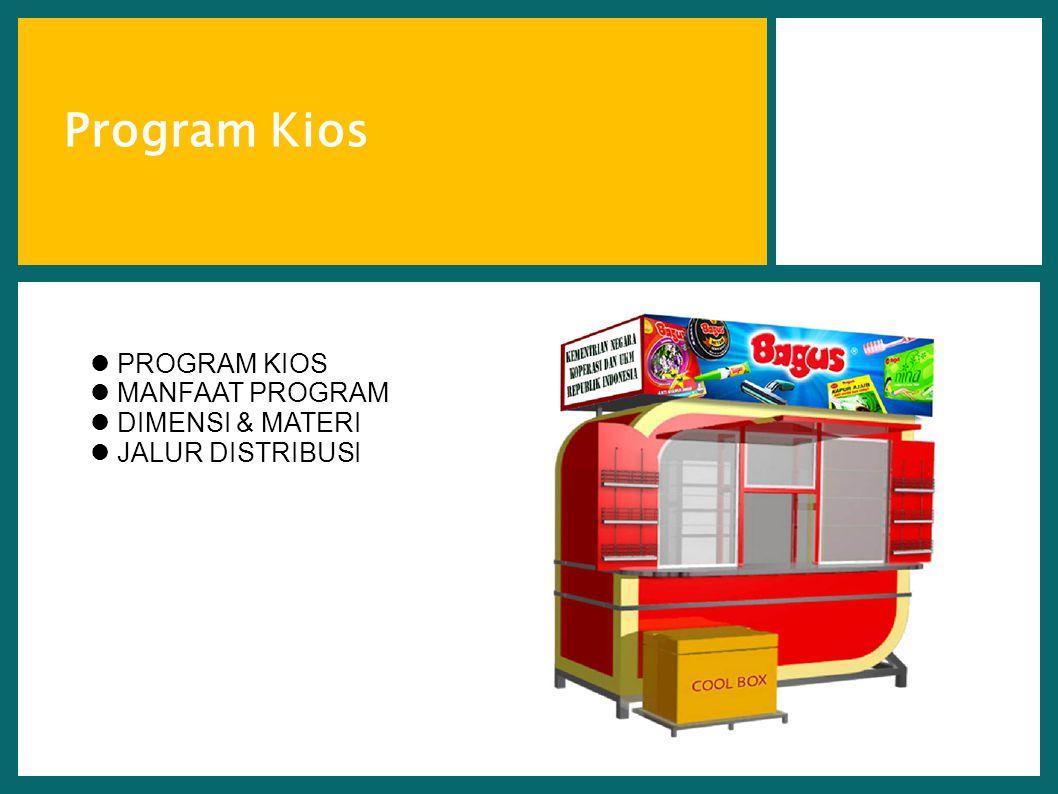 Page 7 7 Program Kios  PROGRAM KIOS  MANFAAT PROGRAM  DIMENSI & MATERI  JALUR DISTRIBUSI