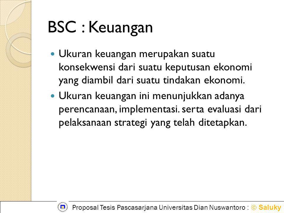 BSC : Keuangan  Ukuran keuangan merupakan suatu konsekwensi dari suatu keputusan ekonomi yang diambil dari suatu tindakan ekonomi.  Ukuran keuangan