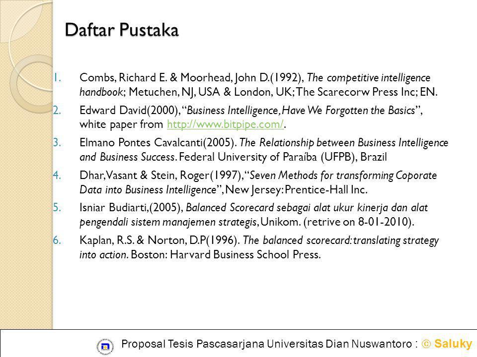 Daftar Pustaka 1.Combs, Richard E. & Moorhead, John D.(1992), The competitive intelligence handbook; Metuchen, NJ, USA & London, UK; The Scarecorw Pre