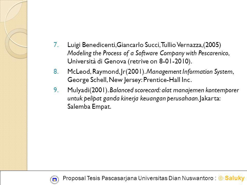 7.Luigi Benedicenti,Giancarlo Succi, Tullio Vernazza,(2005) Modeling the Process of a Software Company with Pescarenico, Università di Genova (retrive