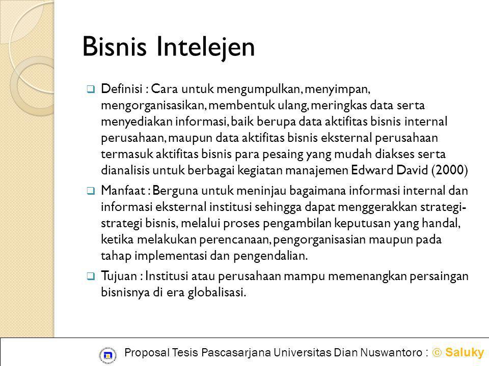 Bisnis Intelejen  Definisi : Cara untuk mengumpulkan, menyimpan, mengorganisasikan, membentuk ulang, meringkas data serta menyediakan informasi, baik