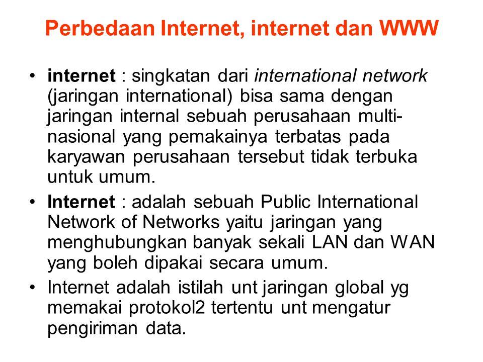Perbedaan Internet, internet dan WWW •internet : singkatan dari international network (jaringan international) bisa sama dengan jaringan internal sebu