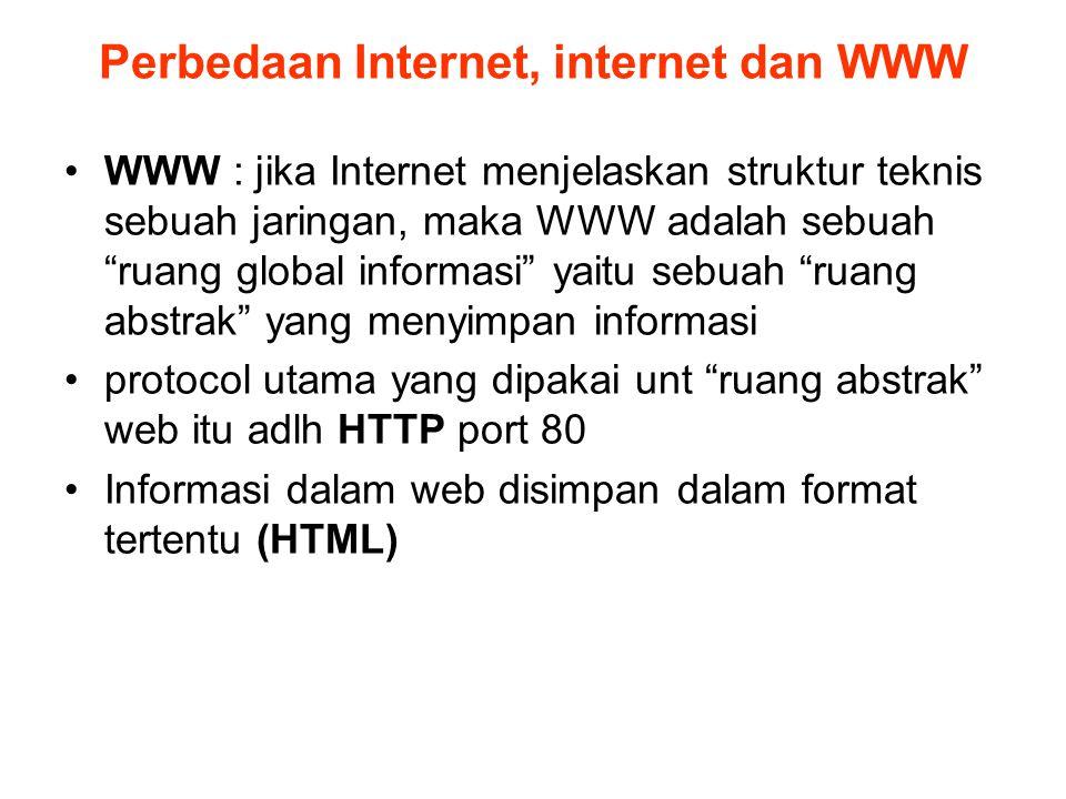 """Perbedaan Internet, internet dan WWW •WWW : jika Internet menjelaskan struktur teknis sebuah jaringan, maka WWW adalah sebuah """"ruang global informasi"""""""