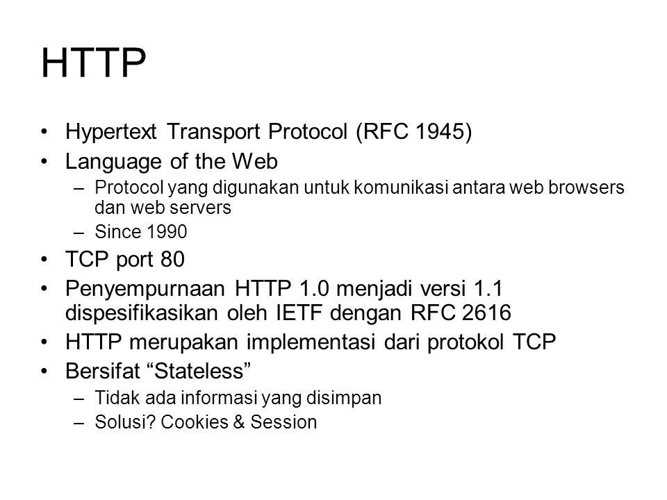 HTTP •Hypertext Transport Protocol (RFC 1945) •Language of the Web –Protocol yang digunakan untuk komunikasi antara web browsers dan web servers –Sinc