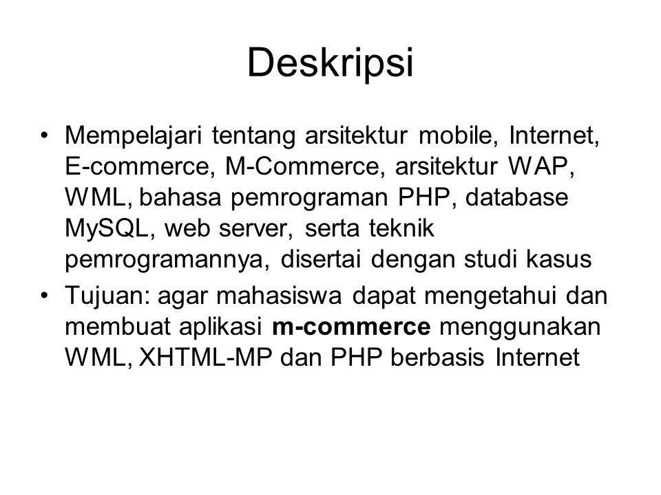Kompentensi Matakuliah •Setelah menyelesaikan kuliah ini mahasiswa diharapkan mampu: –Mengetahui konsep-konsep E-commerce, M- commerce, dan arsitekturnya –Mampu membangun aplikasi Mobile dengan WML, XHTML-MP, PHP, dan MySQL