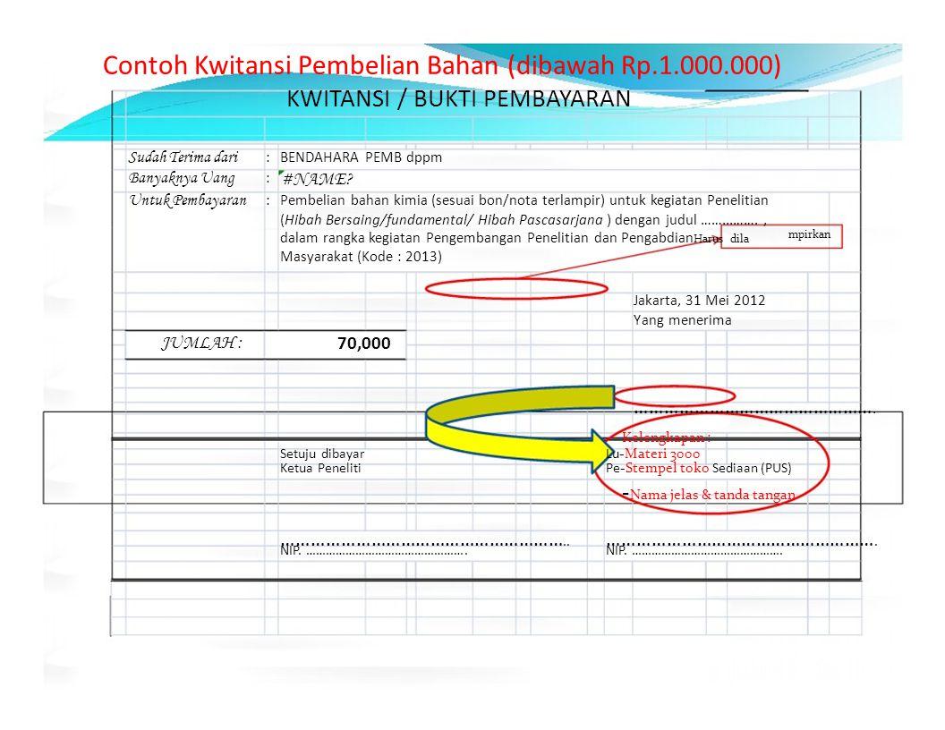 Contoh Kwitansi Pembelian Bahan (dibawah Rp.1.000.000) KWITANSI / BUKTI PEMBAYARAN Sudah Terima dari :BENDAHARA PEMB dppm Banyaknya Uang : #NAME? Untu