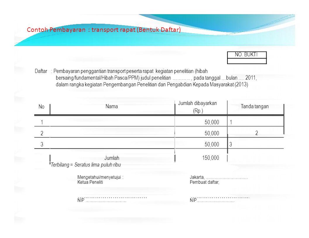 Contoh Pembayaran : transport rapat (Bentuk Daftar) NO. BUKTI Daftar : Pembayaran penggantian transport peserta rapat kegiatan penelitian (hibah bersa