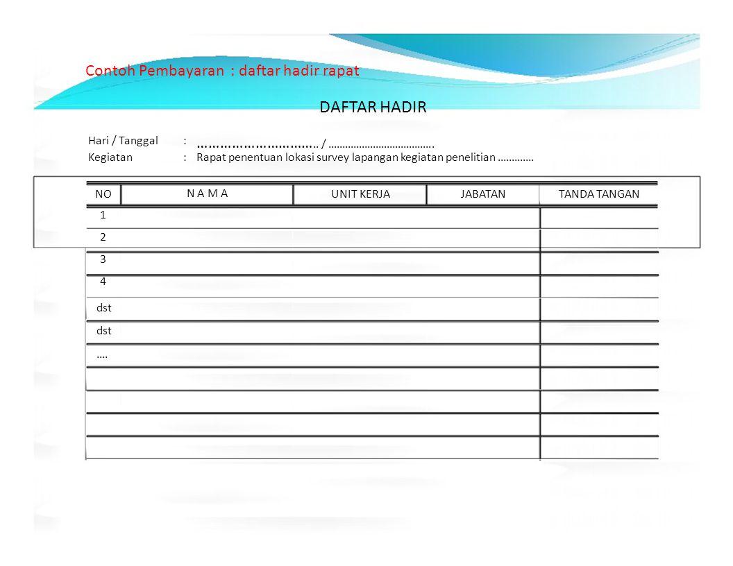 Contoh Pembayaran : daftar hadir rapat DAFTAR HADIR Hari / Tanggal: ………………………….. / ……………………………….. Kegiatan:Rapat penentuan lokasi survey lapangan kegi