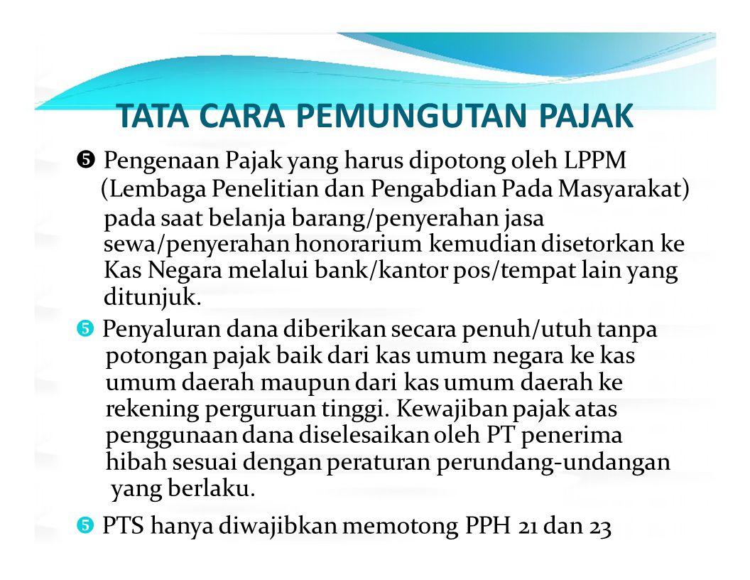 TATA CARA PEMUNGUTAN PAJAK  Pengenaan Pajak yang harus dipotong oleh LPPM (Lembaga Penelitian dan Pengabdian Pada Masyarakat) pada saat belanja baran