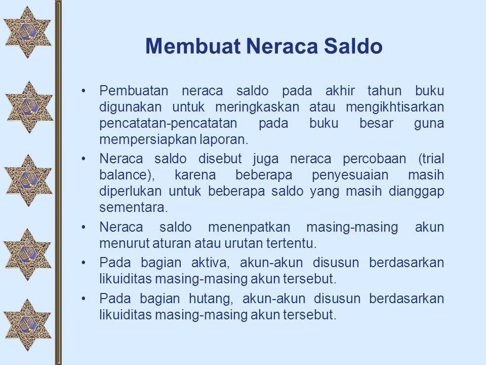 Membuat Neraca Saldo •Pembuatan neraca saldo pada akhir tahun buku digunakan untuk meringkaskan atau mengikhtisarkan pencatatan-pencatatan pada buku b