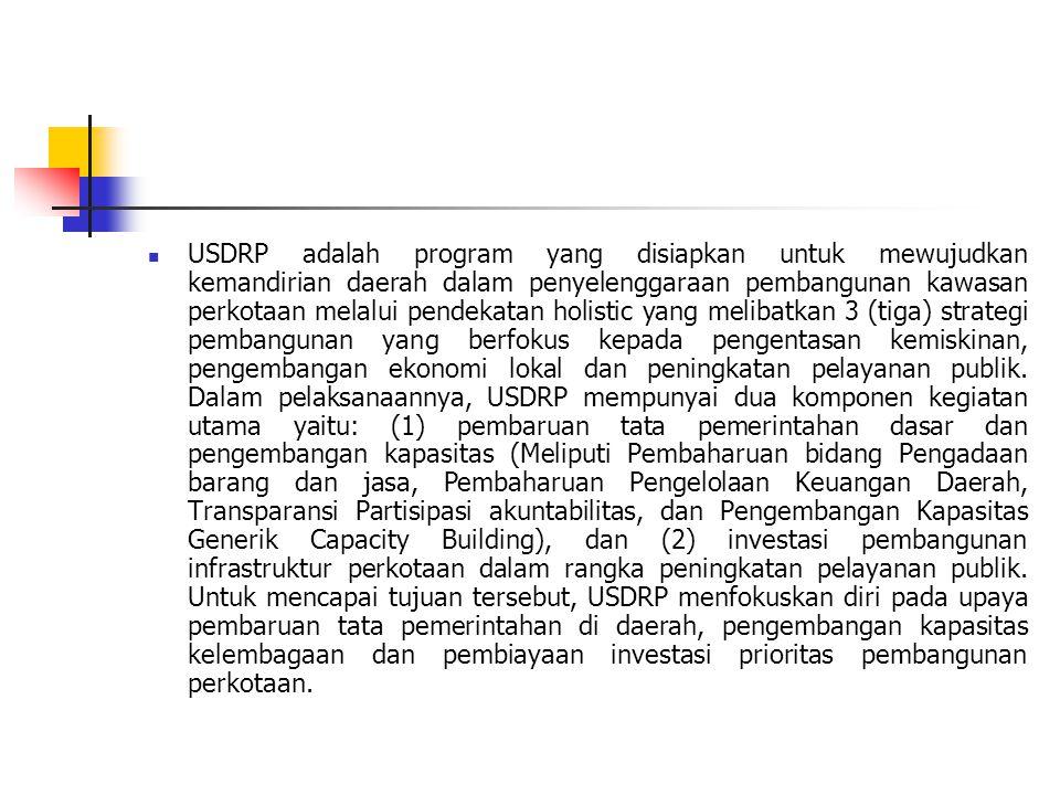  USDRP adalah program yang disiapkan untuk mewujudkan kemandirian daerah dalam penyelenggaraan pembangunan kawasan perkotaan melalui pendekatan holistic yang melibatkan 3 (tiga) strategi pembangunan yang berfokus kepada pengentasan kemiskinan, pengembangan ekonomi lokal dan peningkatan pelayanan publik.