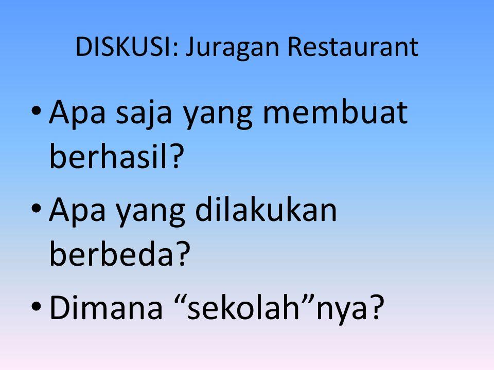 DISKUSI: Juragan Restaurant • Apa saja yang membuat berhasil.
