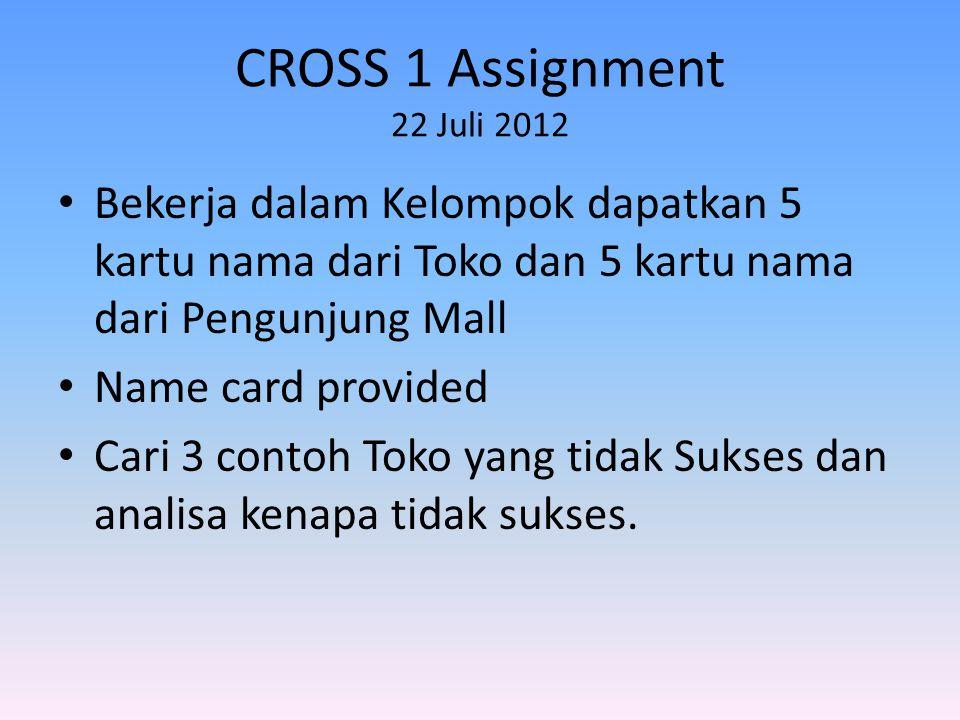 CROSS 1 Assignment 22 Juli 2012 • Bekerja dalam Kelompok dapatkan 5 kartu nama dari Toko dan 5 kartu nama dari Pengunjung Mall • Name card provided • Cari 3 contoh Toko yang tidak Sukses dan analisa kenapa tidak sukses.