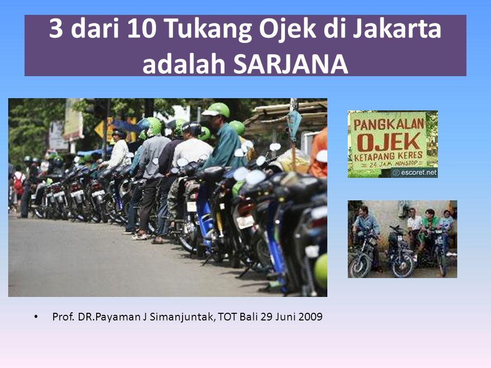3 dari 10 Tukang Ojek di Jakarta adalah SARJANA • Prof.