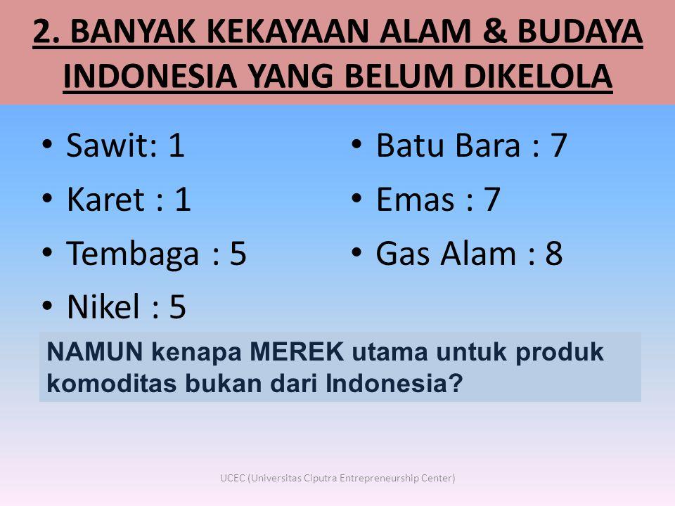 2. BANYAK KEKAYAAN ALAM & BUDAYA INDONESIA YANG BELUM DIKELOLA • Sawit: 1 • Karet : 1 • Tembaga : 5 • Nikel : 5 • Batu Bara : 7 • Emas : 7 • Gas Alam