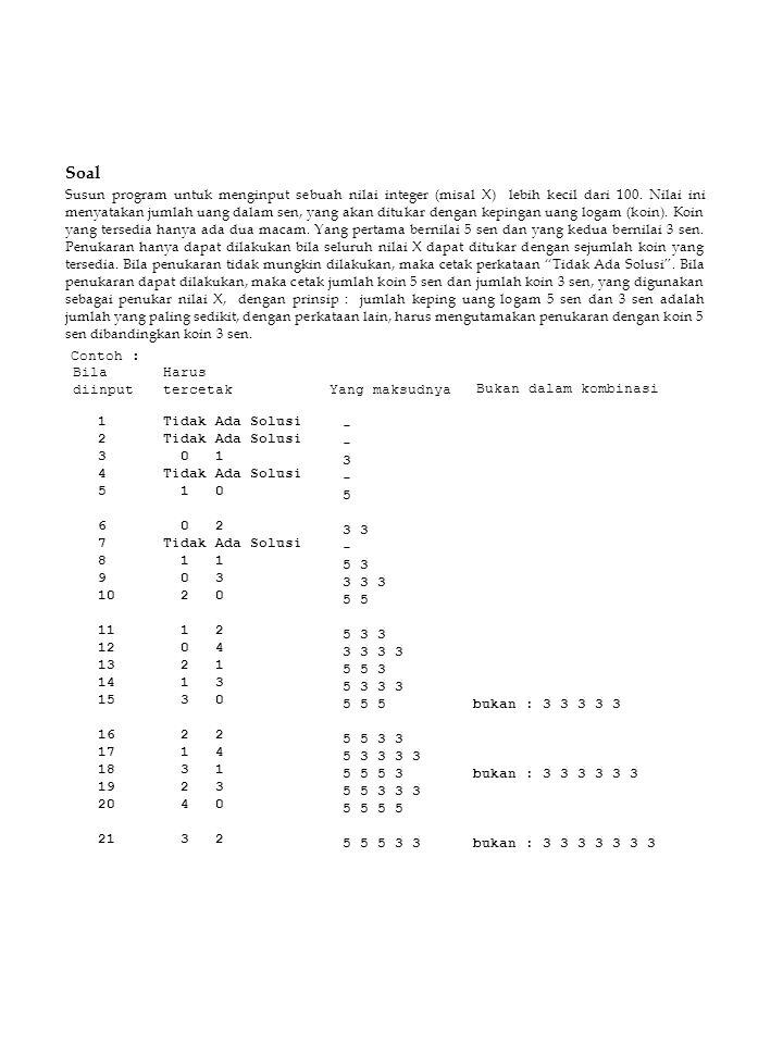 Soal Susun program untuk menginput sebuah nilai integer (misal X) lebih kecil dari 100. Nilai ini menyatakan jumlah uang dalam sen, yang akan ditukar