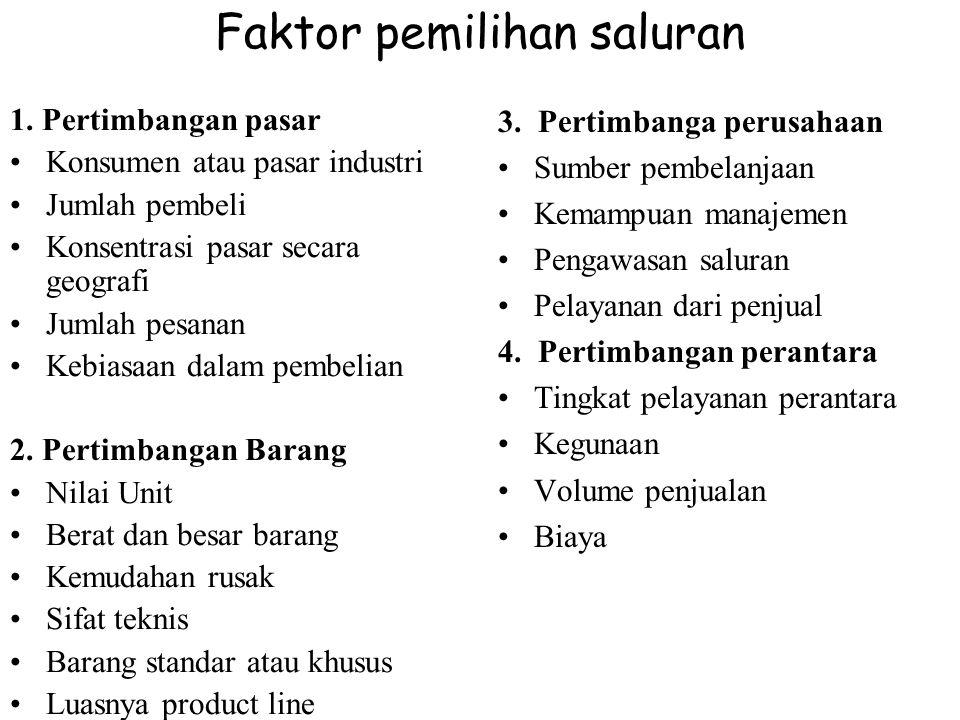 Faktor pemilihan saluran 1.