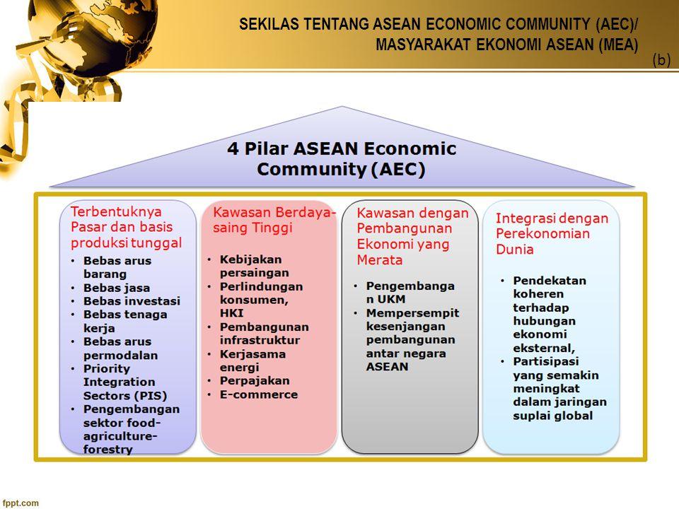 SEKILAS TENTANG ASEAN ECONOMIC COMMUNITY (AEC)/ MASYARAKAT EKONOMI ASEAN (MEA) (c) a.implementasi AEC berpotensi menjadikan Indonesia sekedar pemasok energi dan bahan baku bagi industrilasasi di kawasan ASEAN, sehingga manfaat yang diperoleh dari kekayaan sumber daya alam mininal.