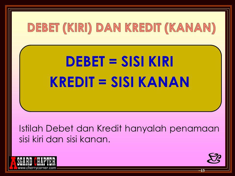 – 13 DEBET = SISI KIRI KREDIT = SISI KANAN Istilah Debet dan Kredit hanyalah penamaan sisi kiri dan sisi kanan.