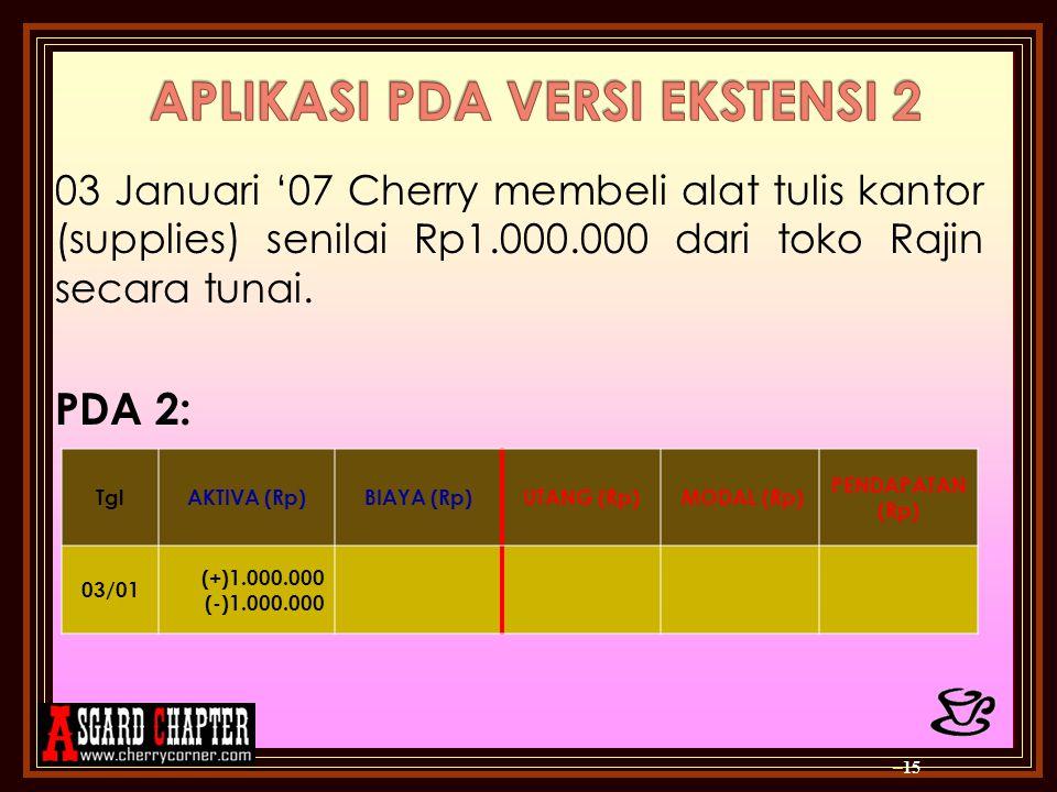 03 Januari '07 Cherry membeli alat tulis kantor (supplies) senilai Rp1.000.000 dari toko Rajin secara tunai. PDA 2: – 15 TglAKTIVA (Rp)BIAYA (Rp)UTANG