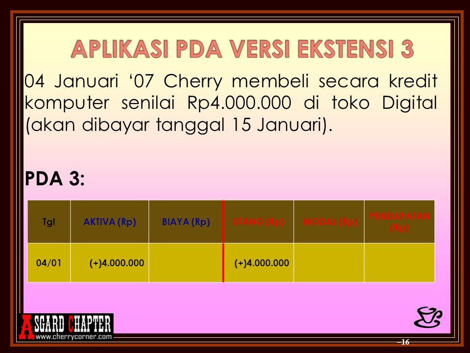 04 Januari '07 Cherry membeli secara kredit komputer senilai Rp4.000.000 di toko Digital (akan dibayar tanggal 15 Januari). PDA 3: – 16 TglAKTIVA (Rp)