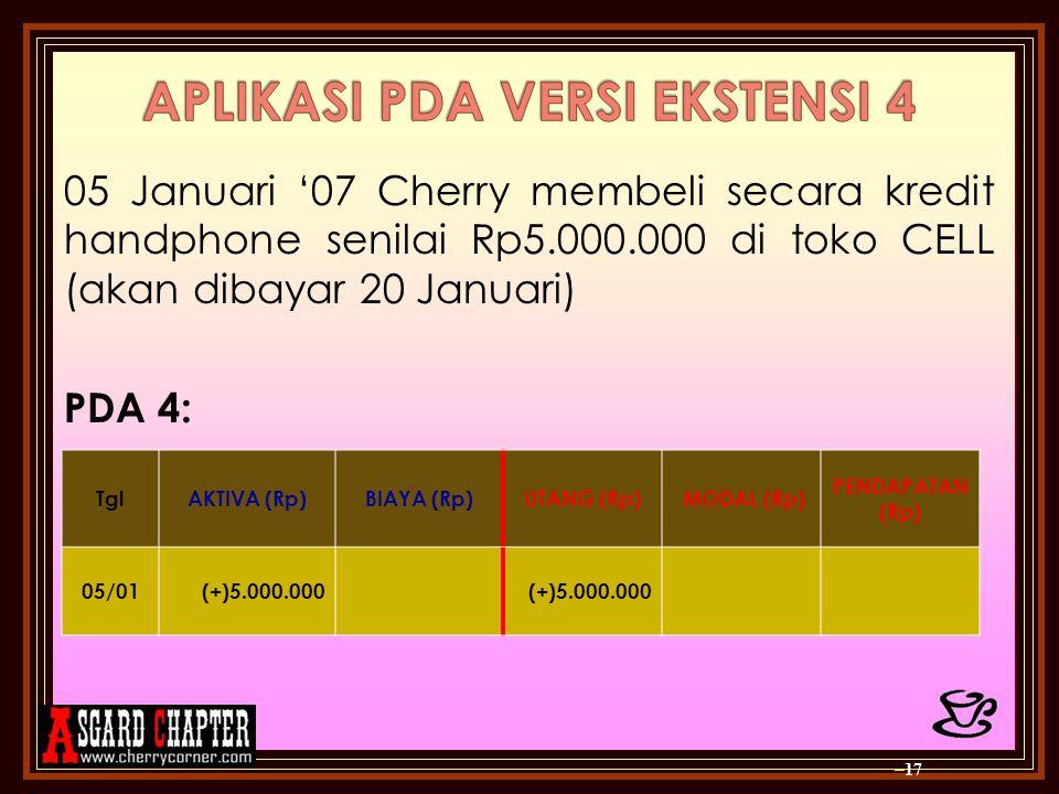 05 Januari '07 Cherry membeli secara kredit handphone senilai Rp5.000.000 di toko CELL (akan dibayar 20 Januari) PDA 4: – 17 TglAKTIVA (Rp)BIAYA (Rp)U