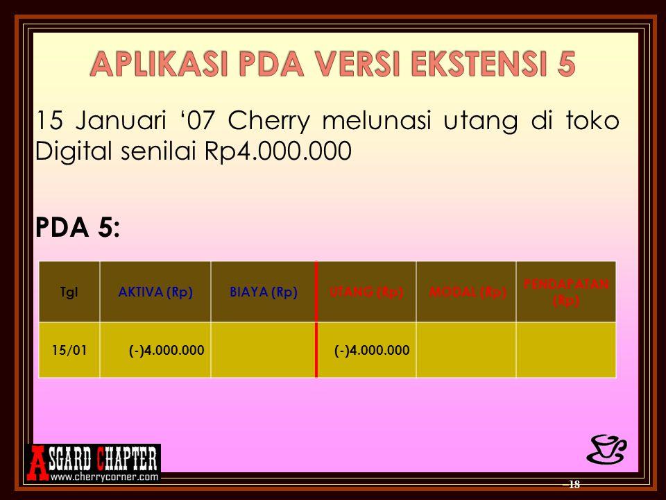 15 Januari '07 Cherry melunasi utang di toko Digital senilai Rp4.000.000 PDA 5: – 18 TglAKTIVA (Rp)BIAYA (Rp)UTANG (Rp) MODAL (Rp) PENDAPATAN (Rp) 15/