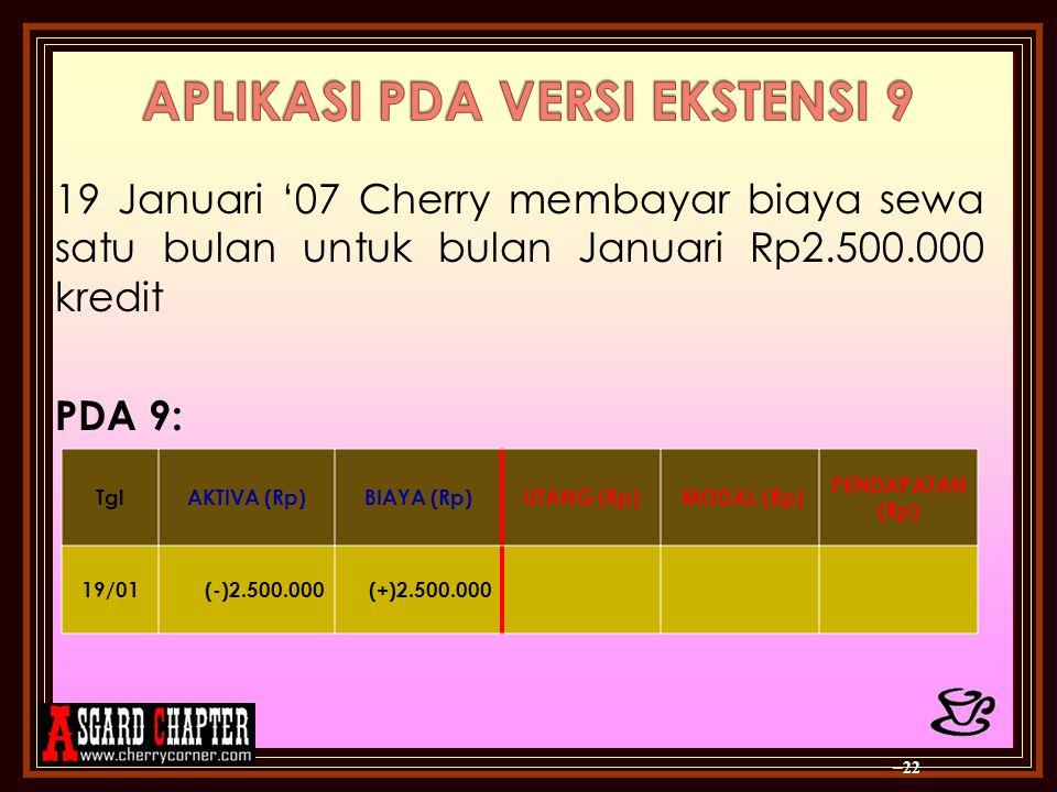 19 Januari '07 Cherry membayar biaya sewa satu bulan untuk bulan Januari Rp2.500.000 kredit PDA 9: – 22 TglAKTIVA (Rp)BIAYA (Rp)UTANG (Rp) MODAL (Rp)