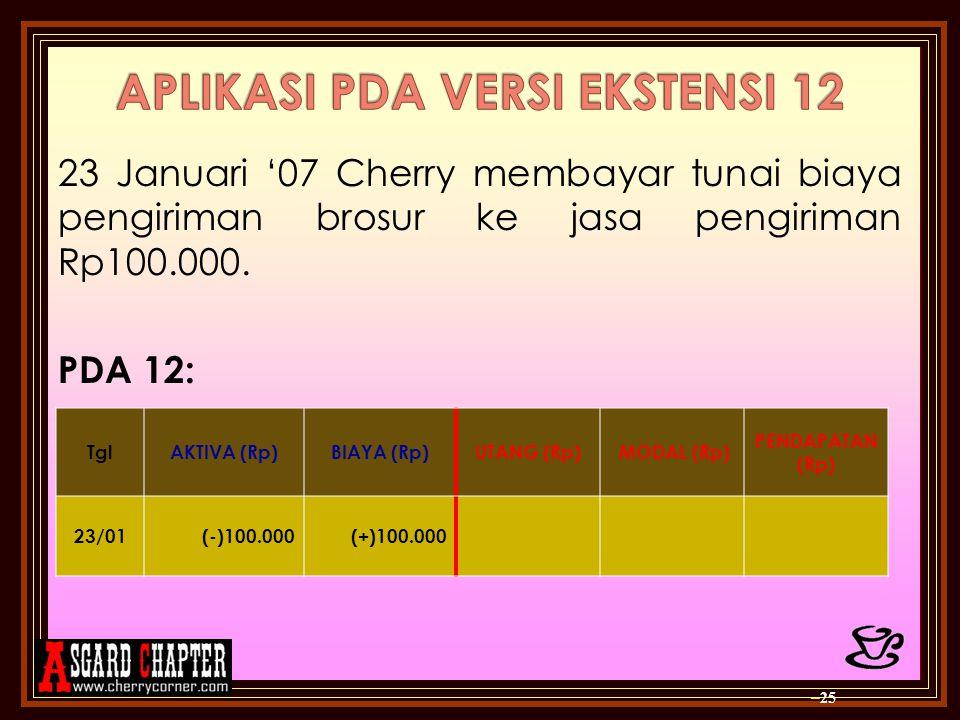 23 Januari '07 Cherry membayar tunai biaya pengiriman brosur ke jasa pengiriman Rp100.000. PDA 12: – 25 TglAKTIVA (Rp)BIAYA (Rp)UTANG (Rp) MODAL (Rp)