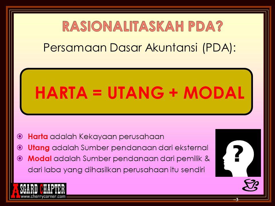 –3–3 Persamaan Dasar Akuntansi (PDA): HARTA = UTANG + MODAL HHarta adalah Kekayaan perusahaan UUtang adalah Sumber pendanaan dari eksternal MMod