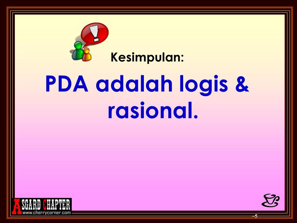 Kesimpulan: PDA adalah logis & rasional. –5–5