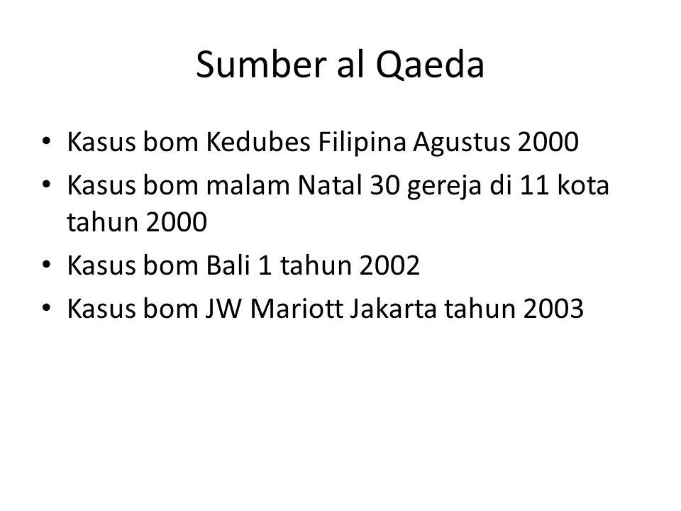 Sumber al Qaeda • Kasus bom Kedubes Filipina Agustus 2000 • Kasus bom malam Natal 30 gereja di 11 kota tahun 2000 • Kasus bom Bali 1 tahun 2002 • Kasu