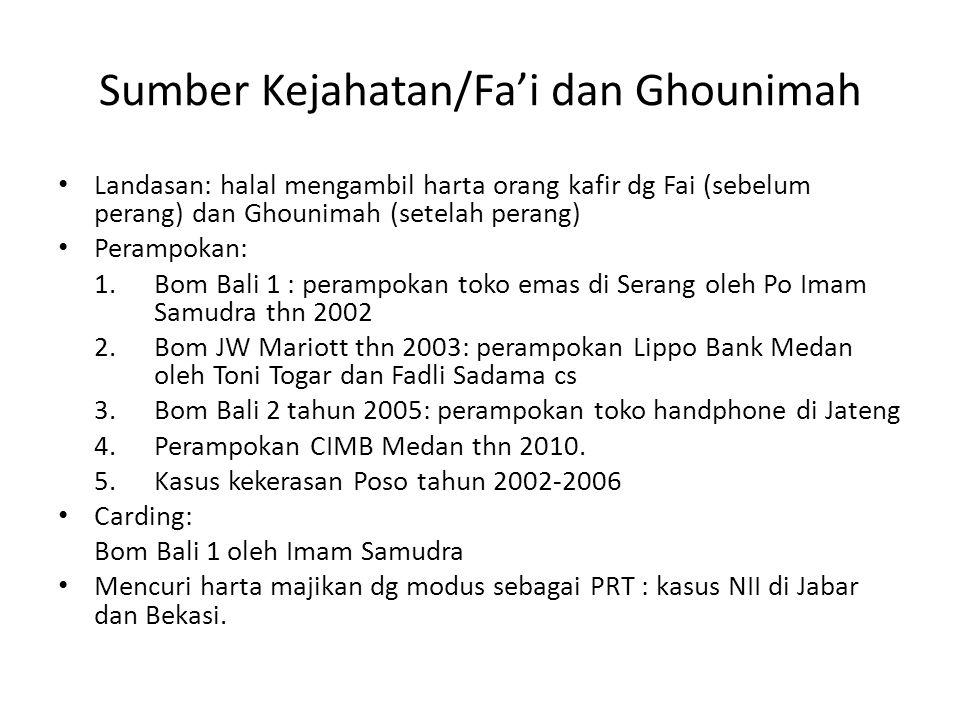 Donatur anggota • Kasus Poso – kelompok Mujahidin Tanah Runtuh • Kasus Pelatihan militer Aceh thn 2010 – mengaku sbg jaringan JAT – hampir Rp.