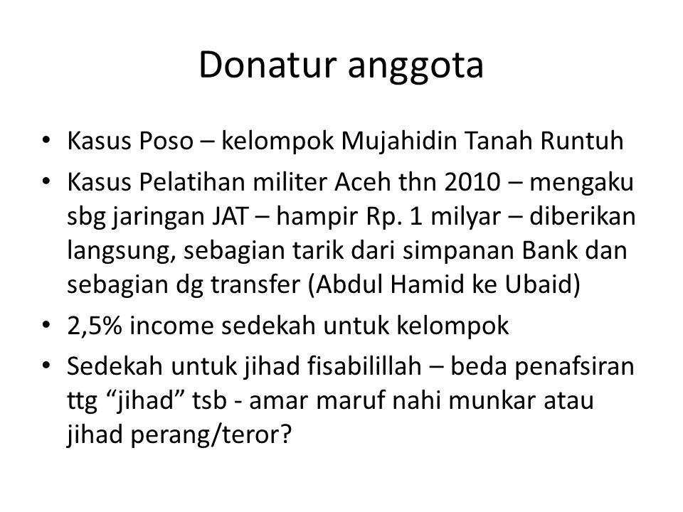 Donatur anggota • Kasus Poso – kelompok Mujahidin Tanah Runtuh • Kasus Pelatihan militer Aceh thn 2010 – mengaku sbg jaringan JAT – hampir Rp. 1 milya