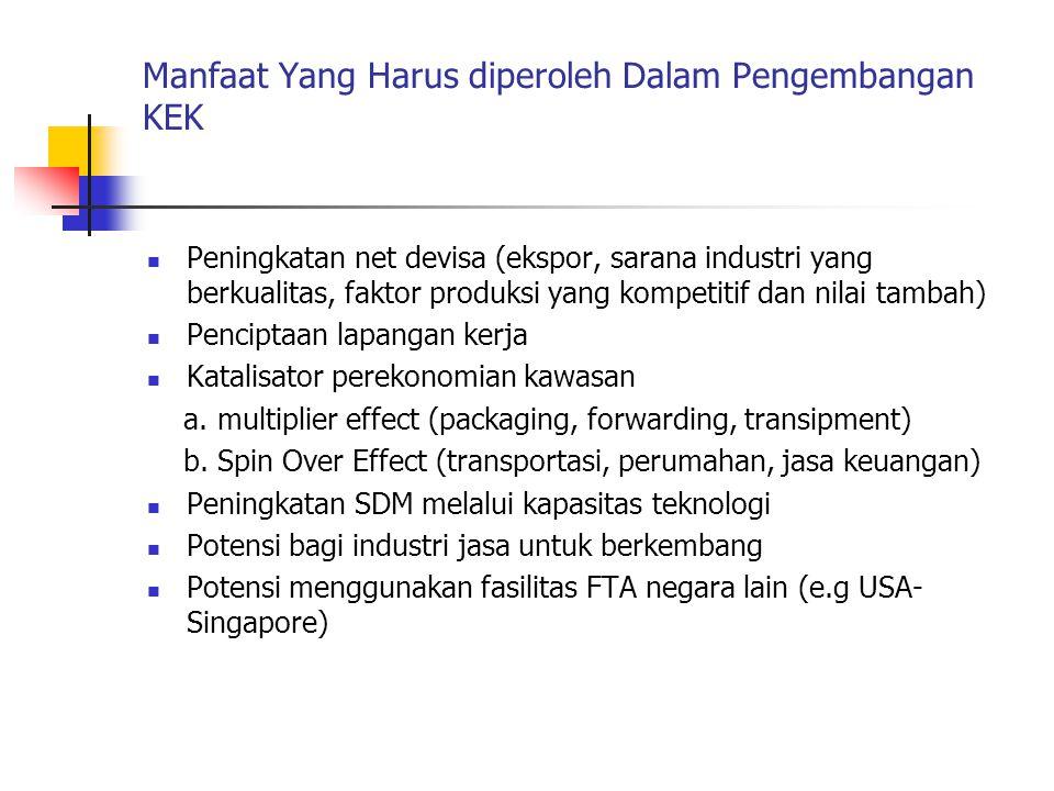 Manfaat Yang Harus diperoleh Dalam Pengembangan KEK  Peningkatan net devisa (ekspor, sarana industri yang berkualitas, faktor produksi yang kompetiti