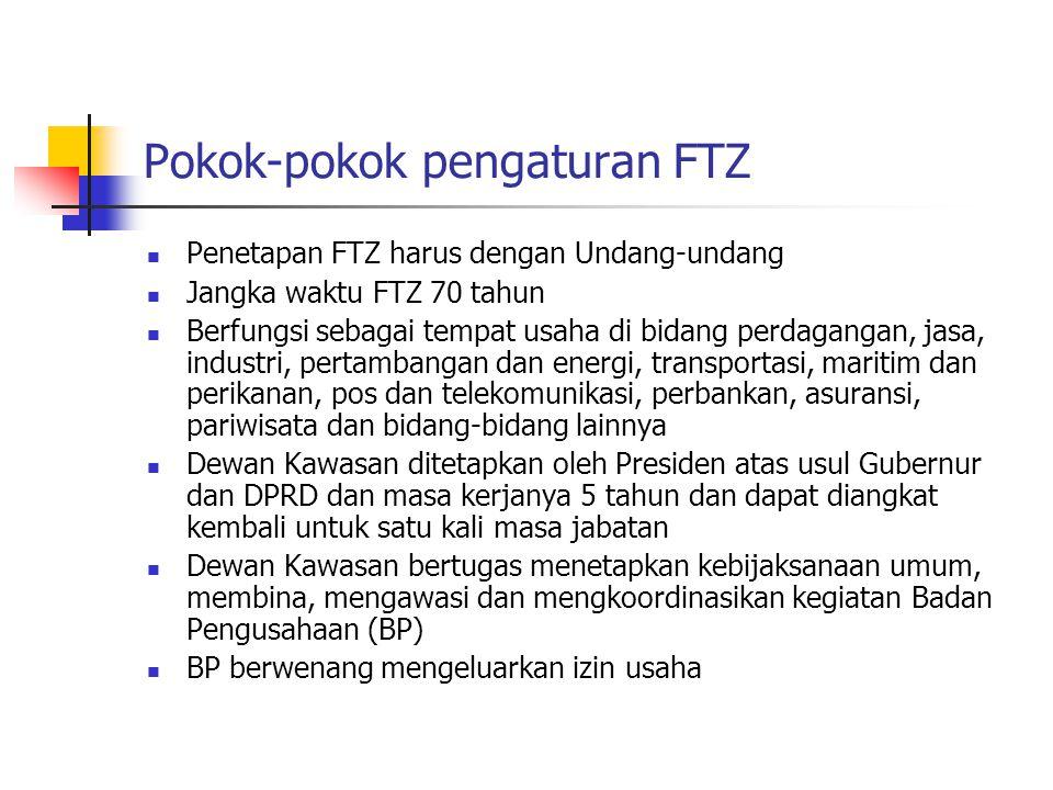 Pokok-pokok pengaturan FTZ  Penetapan FTZ harus dengan Undang-undang  Jangka waktu FTZ 70 tahun  Berfungsi sebagai tempat usaha di bidang perdagang