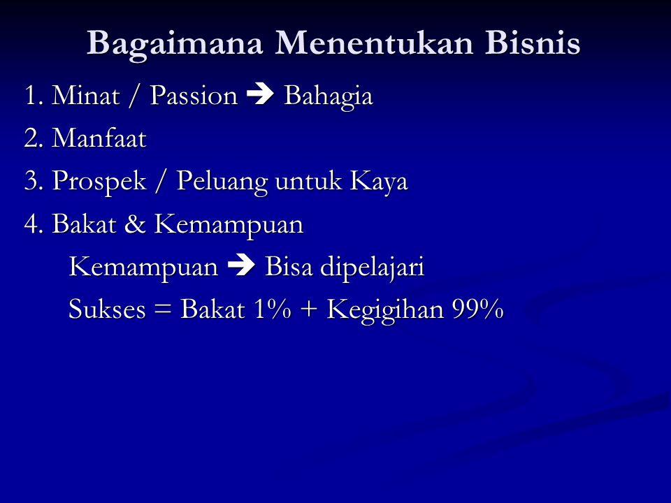 Bagaimana Menentukan Bisnis 1. Minat / Passion  Bahagia 2.