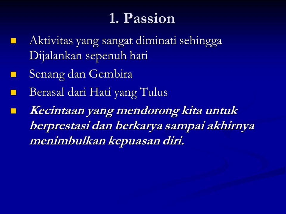 1. Passion  Aktivitas yang sangat diminati sehingga Dijalankan sepenuh hati  Senang dan Gembira  Berasal dari Hati yang Tulus  Kecintaan yang mend