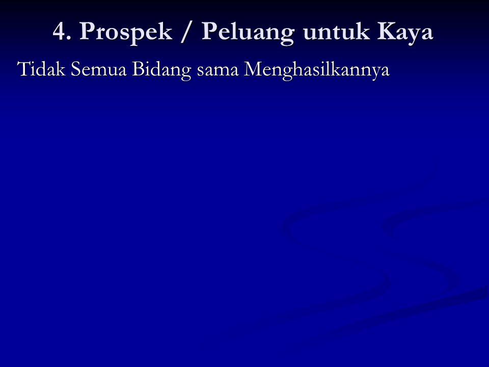 4. Prospek / Peluang untuk Kaya Tidak Semua Bidang sama Menghasilkannya