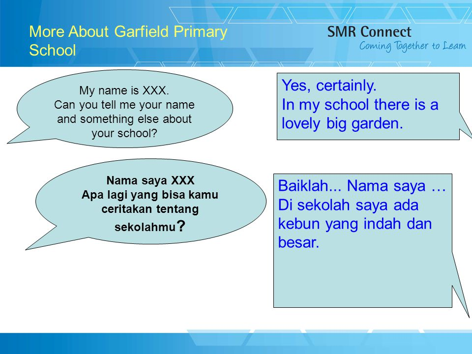 12 More About Garfield Primary School My name is XXX.