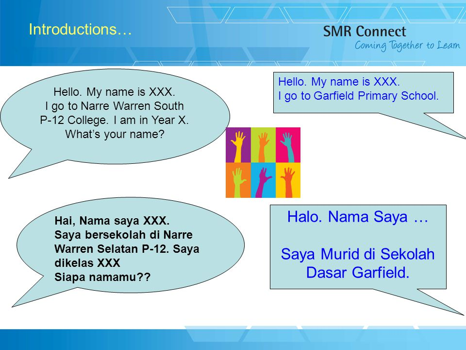 2 Introductions… Hello. My name is XXX. I go to Narre Warren South P-12 College.