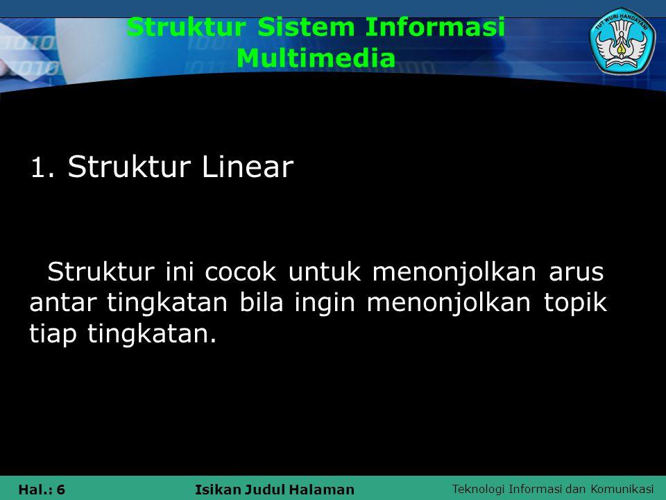 Teknologi Informasi dan Komunikasi Hal.: 5Isikan Judul Halaman Struktur Sistem Informasi Multimedia Ada empat struktur Sistem Informasi Multimedia men