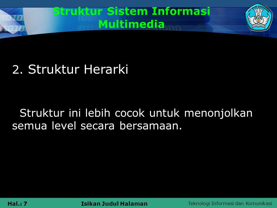 Teknologi Informasi dan Komunikasi Hal.: 6Isikan Judul Halaman Struktur Sistem Informasi Multimedia 1. Struktur Linear Struktur ini cocok untuk menonj